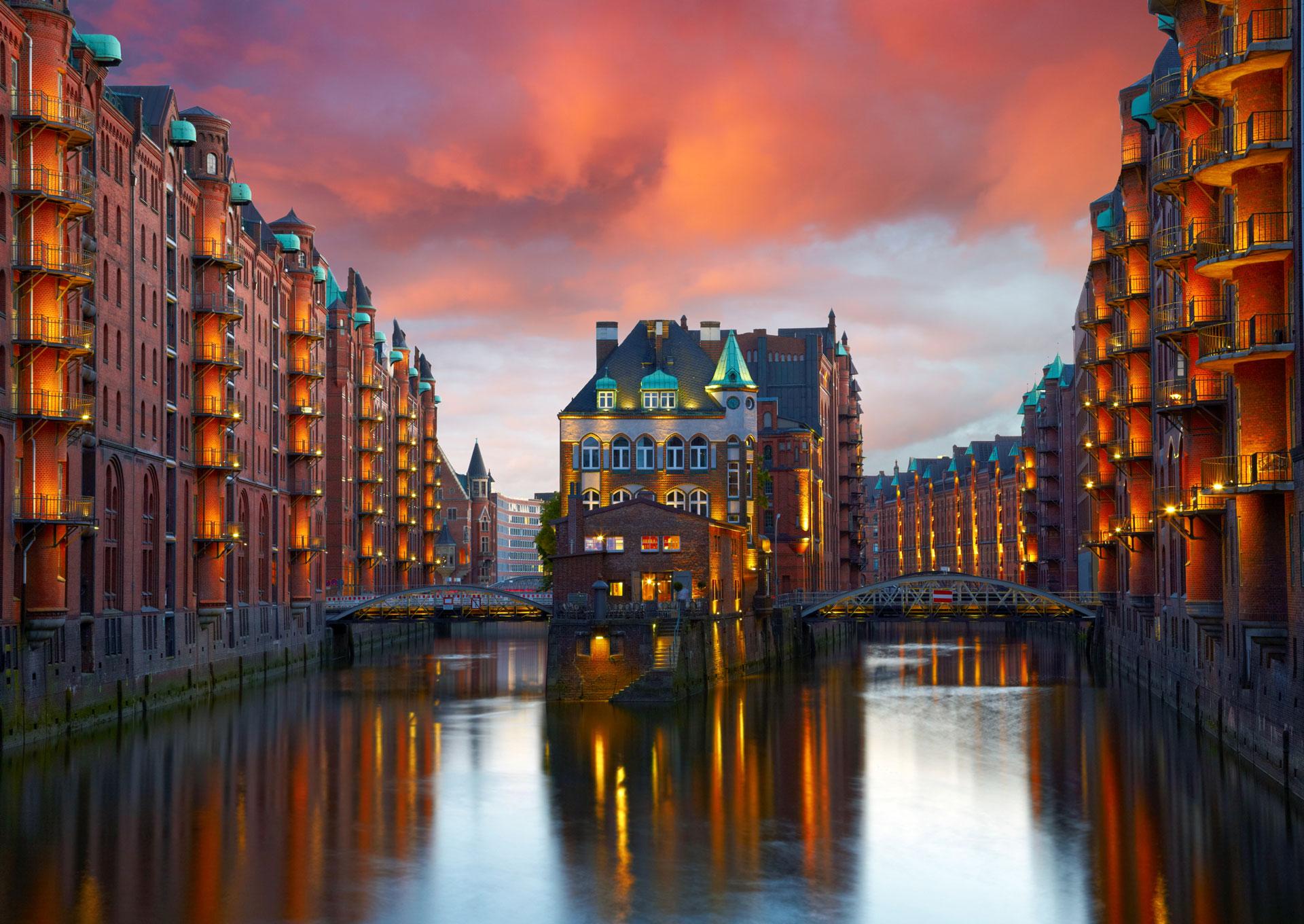 Beautiful buildings along canal